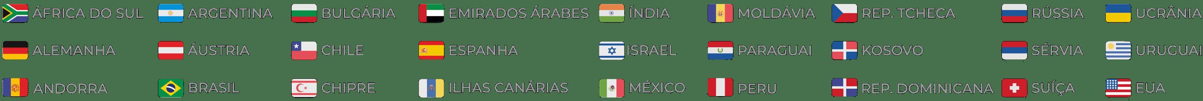 Bandeiras dos paises onde a zomo esta presente